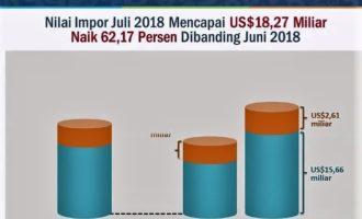 Impor Juli 2018 Naik 62,17 Persen